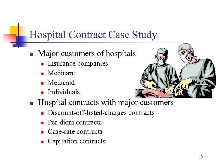 Hospital Contract Case Study n Major customers of hospitals n n n Insurance companies