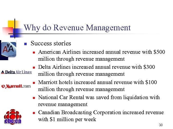 Why do Revenue Management n Success stories n n n American Airlines increased annual