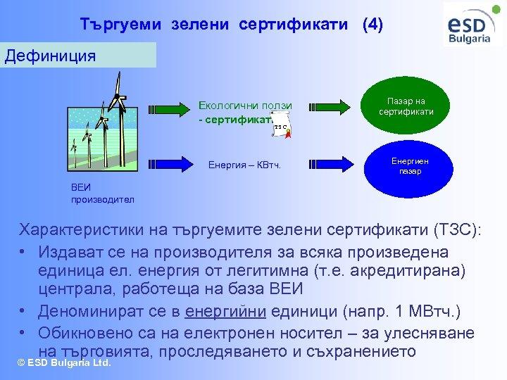 Търгуеми зелени сертификати (4) Дефиниция Екологични ползи - сертификати Пазар на сертификати ТЗС Енергия