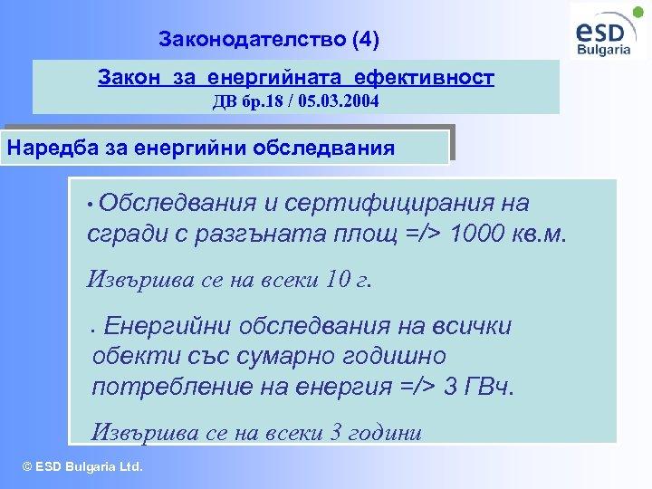 Законодателство (4) Закон за енергийната ефективност ДВ бр. 18 / 05. 03. 2004 Наредба