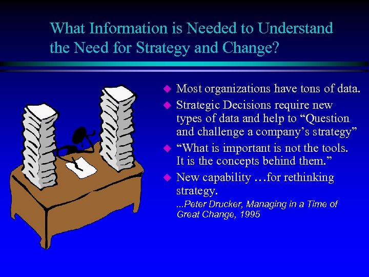 What Information is Needed to Understand the Need for Strategy and Change? u u