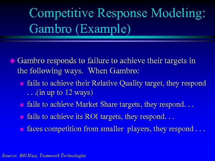 Competitive Response Modeling: Gambro (Example) u Gambro responds to failure to achieve their targets