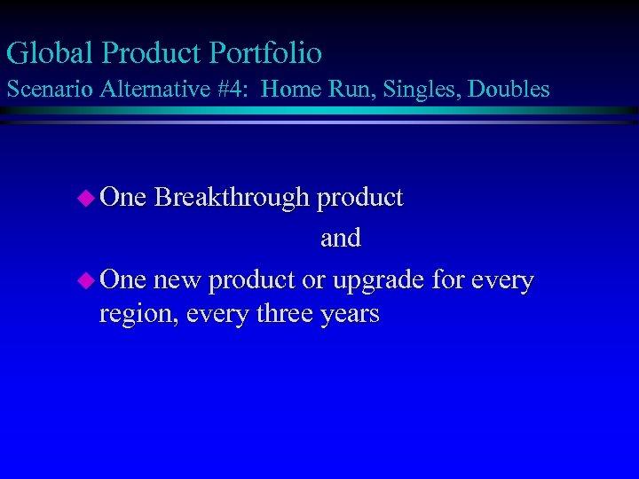 Global Product Portfolio Scenario Alternative #4: Home Run, Singles, Doubles u One Breakthrough product