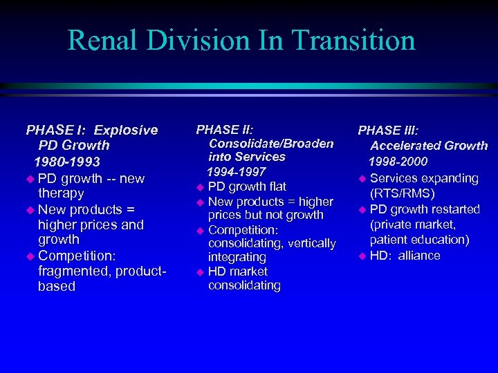 Renal Division In Transition PHASE I: Explosive PD Growth 1980 -1993 u PD growth