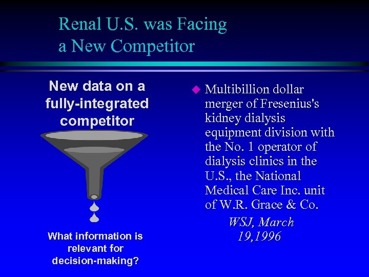 Renal U. S. was Facing a New Competitor New data on a fully-integrated competitor