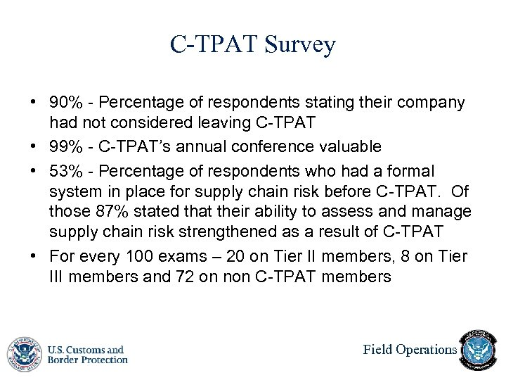 C-TPAT Survey • 90% - Percentage of respondents stating their company had not considered