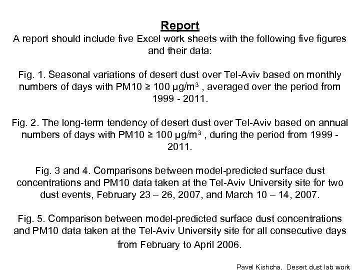 Report A report should include five Excel work sheets with the following five figures