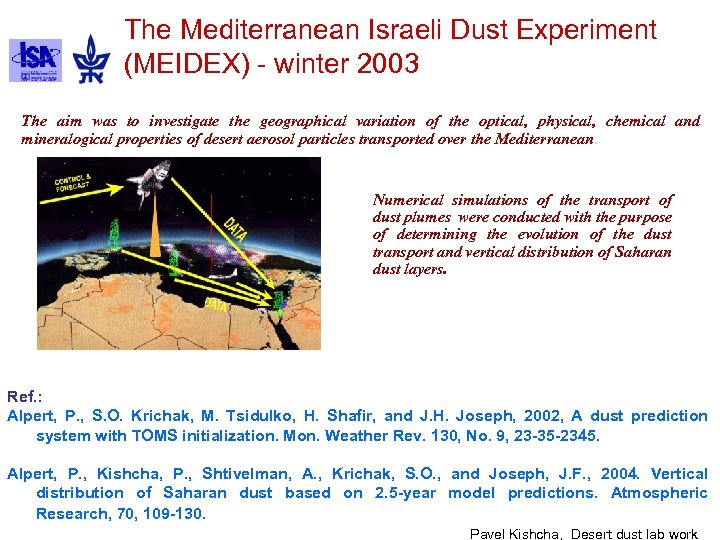 The Mediterranean Israeli Dust Experiment (MEIDEX) - winter 2003 The aim was to investigate