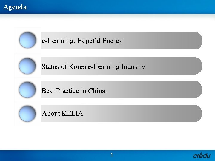 Agenda 1 e-Learning, Hopeful Energy 2 Status of Korea e-Learning Industry 3 Best Practice