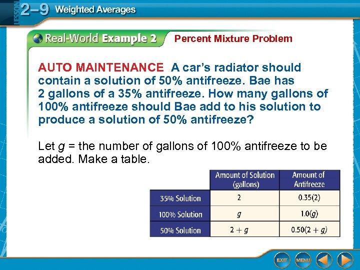Percent Mixture Problem AUTO MAINTENANCE A car's radiator should contain a solution of 50%