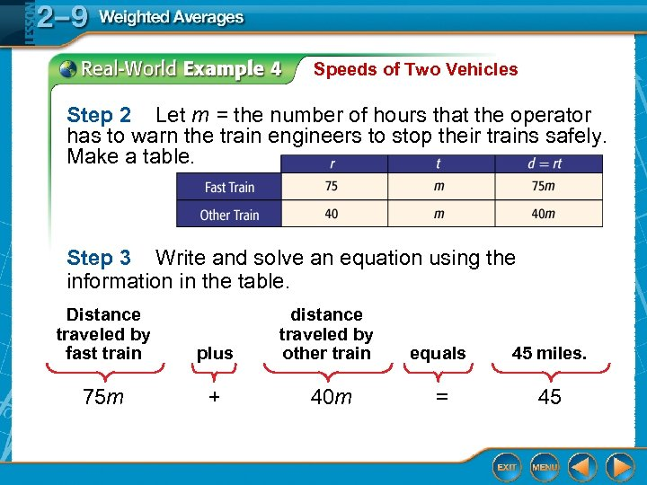Speeds of Two Vehicles Step 2 Let m = the number of hours that