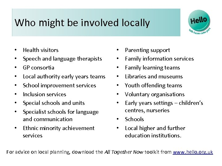 Who might be involved locally Health visitors Speech and language therapists GP consortia Local