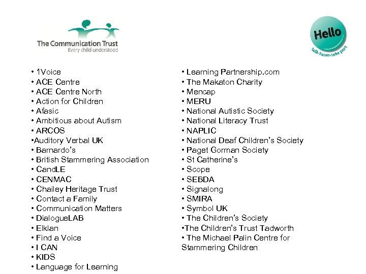 • 1 Voice • ACE Centre North • Action for Children • Afasic