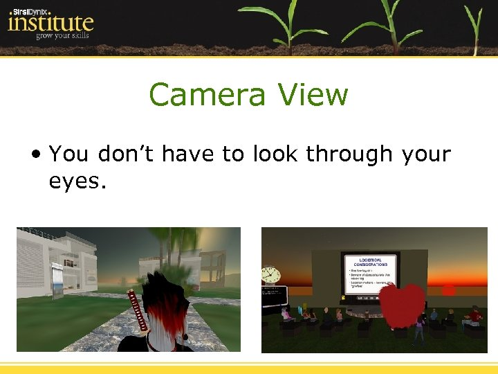 Camera View • You don't have to look through your eyes.