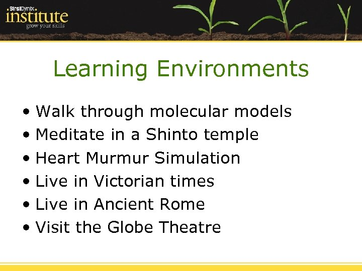 Learning Environments • Walk through molecular models • Meditate in a Shinto temple •