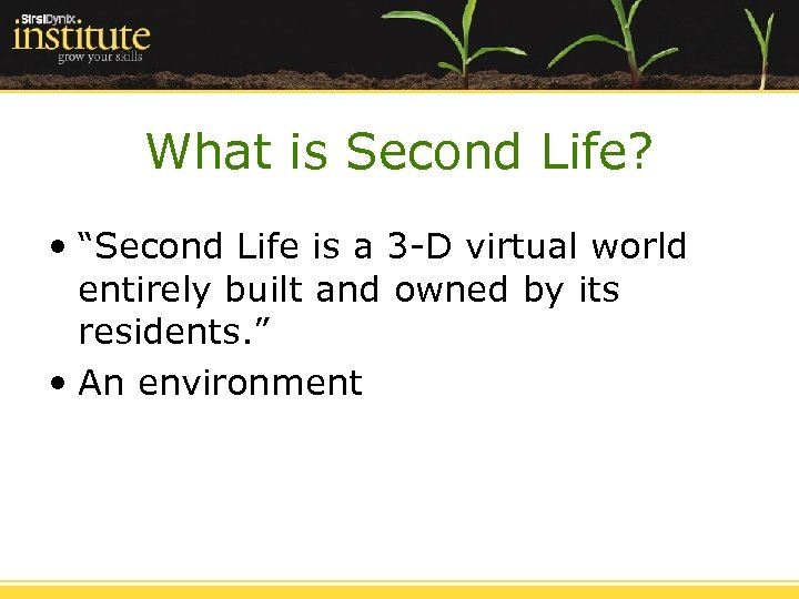 """What is Second Life? • """"Second Life is a 3 -D virtual world entirely"""