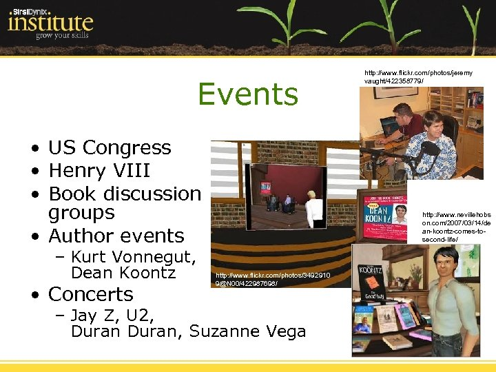 Events • US Congress • Henry VIII • Book discussion groups • Author events