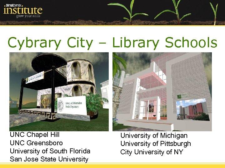 Cybrary City – Library Schools UNC Chapel Hill UNC Greensboro University of South Florida