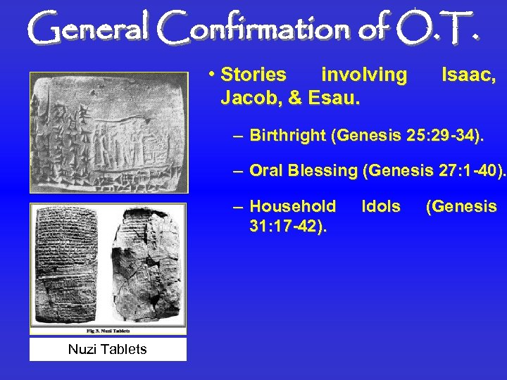 General Confirmation of O. T. • Stories involving Jacob, & Esau. Isaac, – Birthright