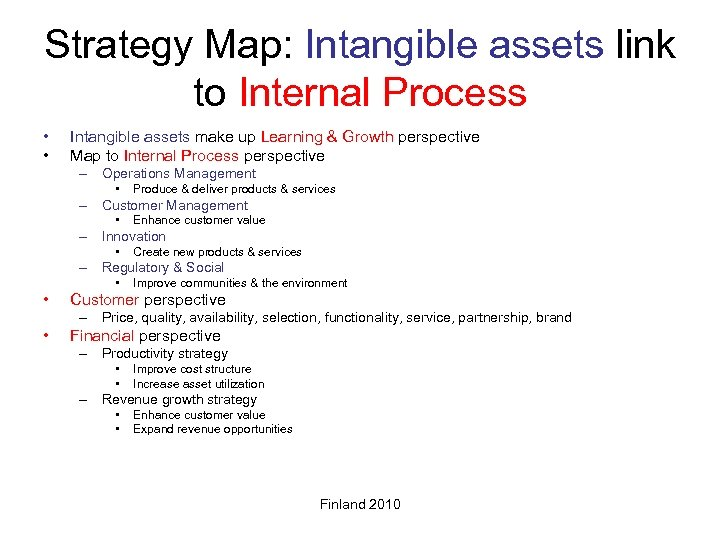 Strategy Map: Intangible assets link to Internal Process • • Intangible assets make up