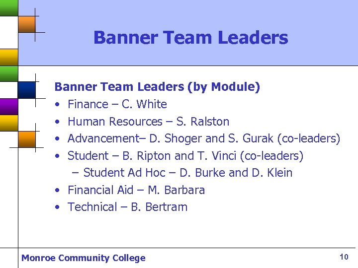 Banner Team Leaders (by Module) • Finance – C. White • Human Resources –