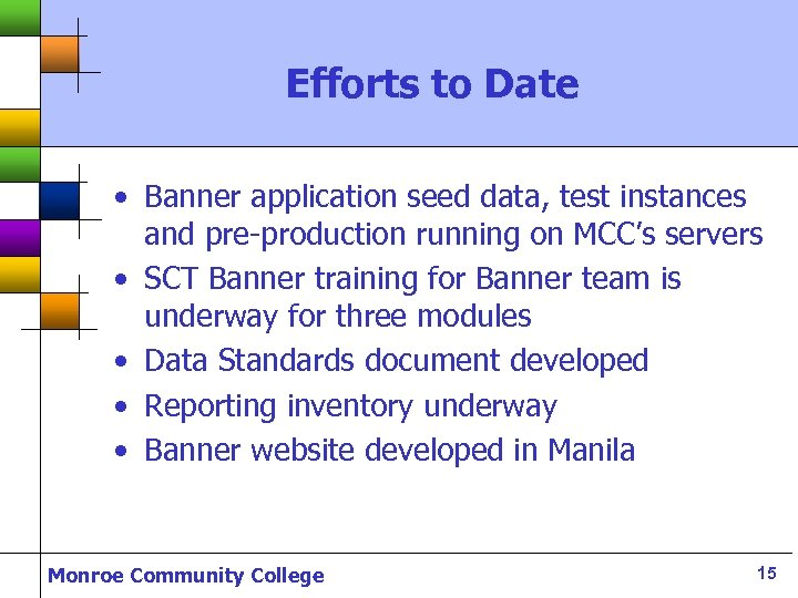 Efforts to Date • Banner application seed data, test instances and pre-production running on