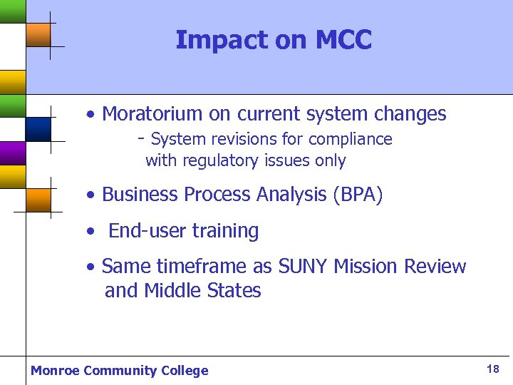 Impact on MCC • Moratorium on current system changes - System revisions for compliance