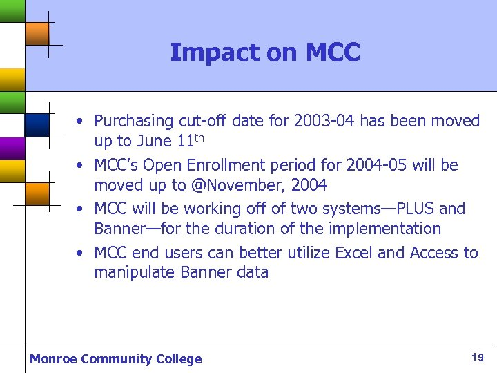 Impact on MCC • Purchasing cut-off date for 2003 -04 has been moved up