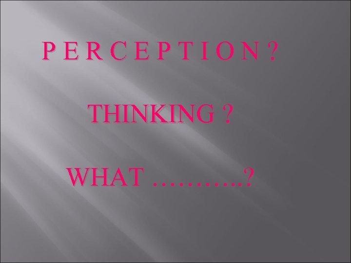 P E R C E P T I O N ? THINKING ? WHAT