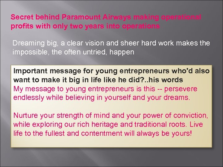 Secret behind Paramount Airways making operational profits with only two years into operations Dreaming