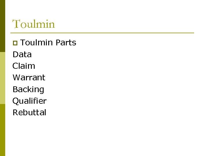 Toulmin Parts Data Claim Warrant Backing Qualifier Rebuttal p