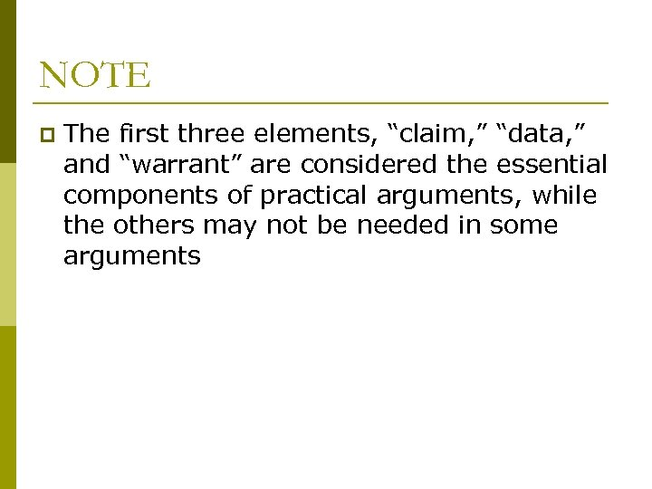"""NOTE p The first three elements, """"claim, """" """"data, """" and """"warrant"""" are considered"""