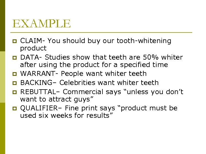 EXAMPLE p p p CLAIM- You should buy our tooth-whitening product DATA- Studies show