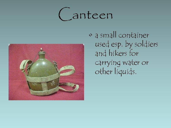 Canteen • a small container used esp. by soldiers and hikers for carrying water