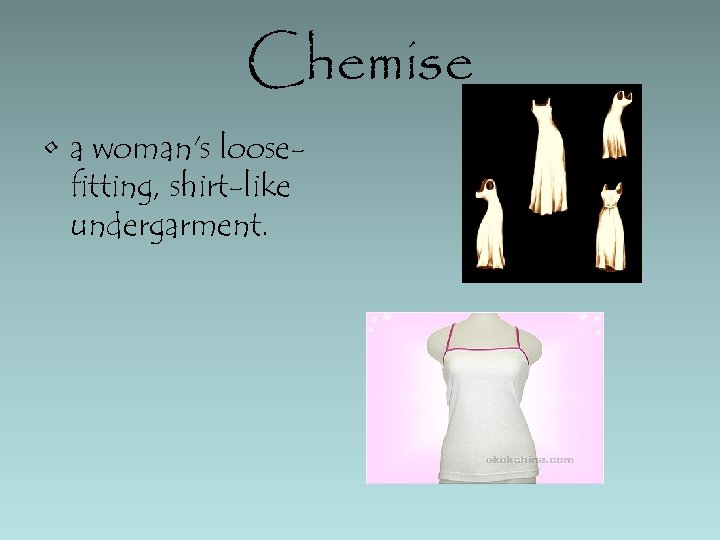 Chemise • a woman's loosefitting, shirt-like undergarment.