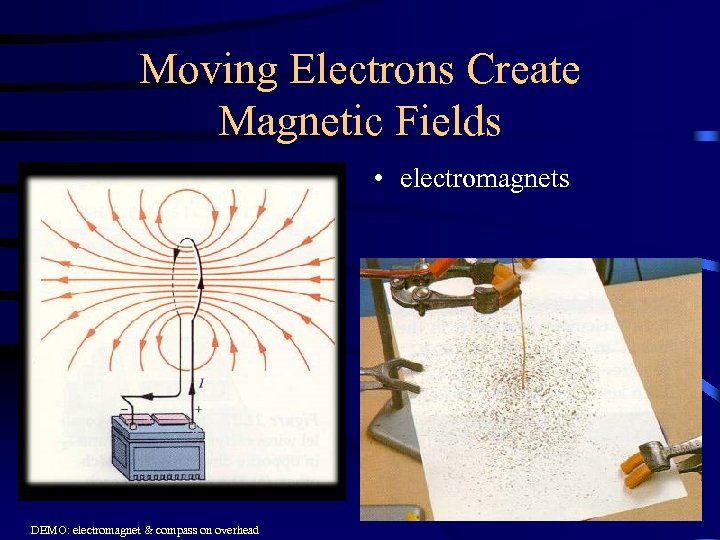 Moving Electrons Create Magnetic Fields • electromagnets DEMO: electromagnet & compass on overhead