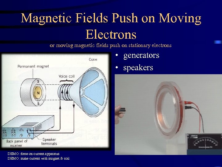 Magnetic Fields Push on Moving Electrons or moving magnetic fields push on stationary electrons