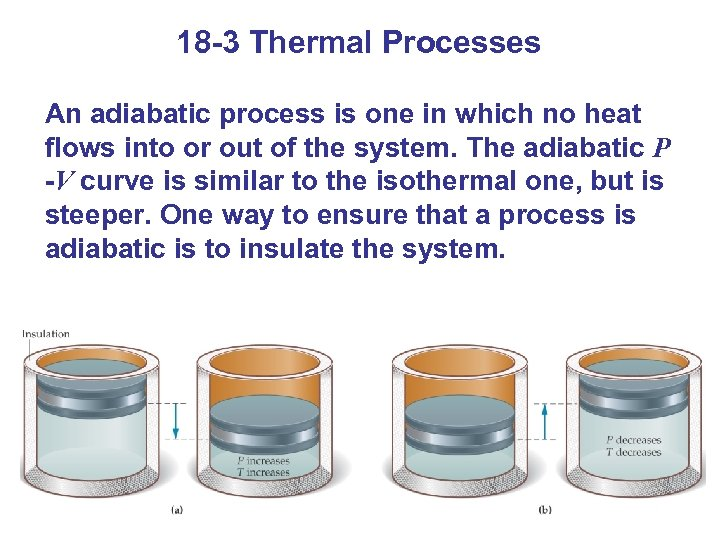 18 -3 Thermal Processes An adiabatic process is one in which no heat flows