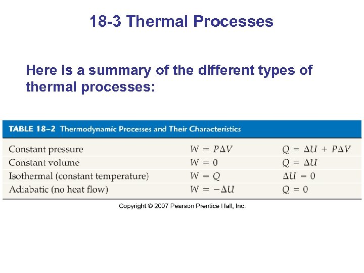 18 -3 Thermal Processes Here is a summary of the different types of thermal