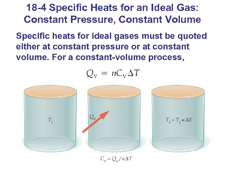 18 -4 Specific Heats for an Ideal Gas: Constant Pressure, Constant Volume Specific heats