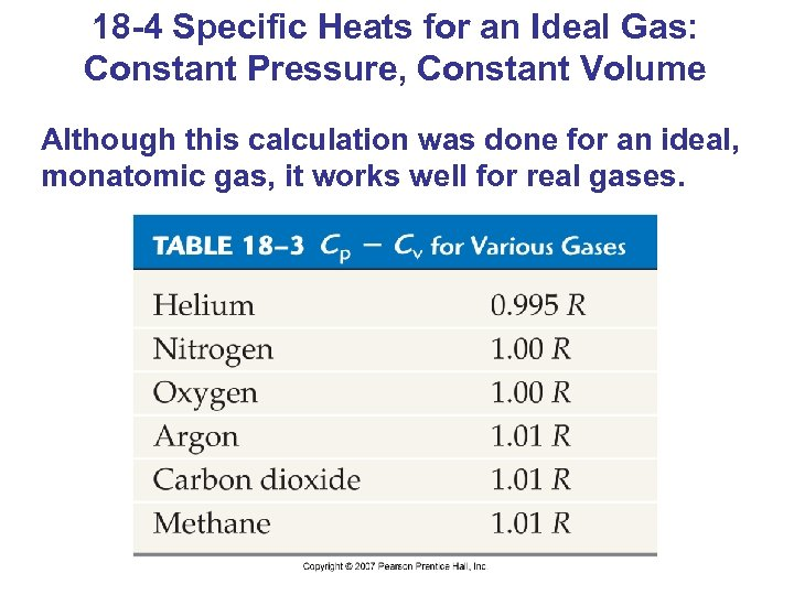 18 -4 Specific Heats for an Ideal Gas: Constant Pressure, Constant Volume Although this