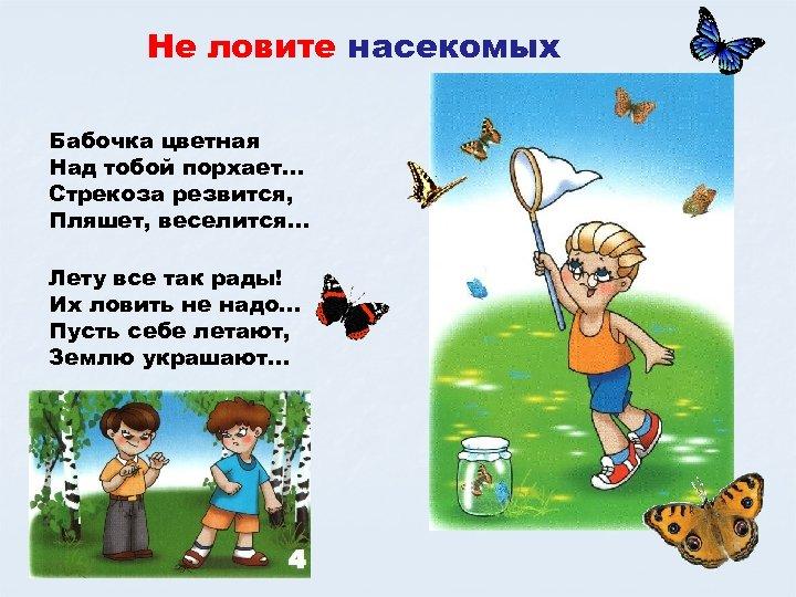 Не ловите насекомых Бабочка цветная Над тобой порхает… Стрекоза резвится, Пляшет, веселится… Лету все