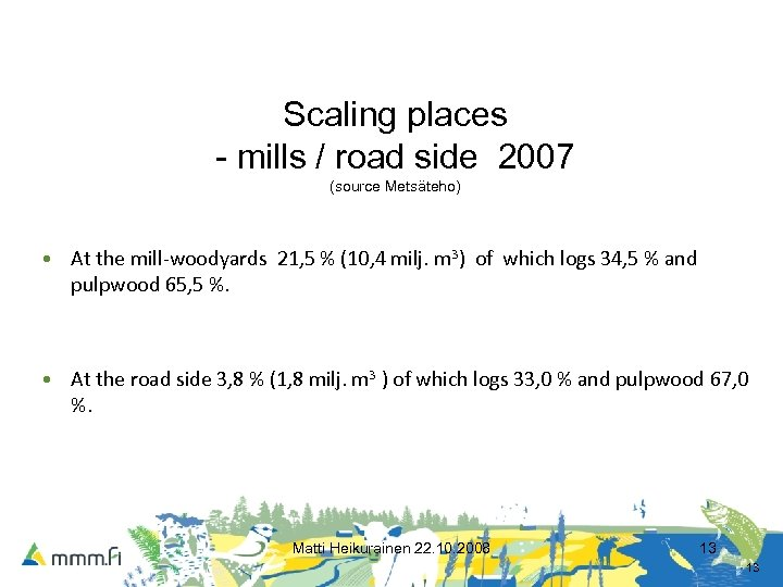 Scaling places - mills / road side 2007 (source Metsäteho) • At the mill-woodyards