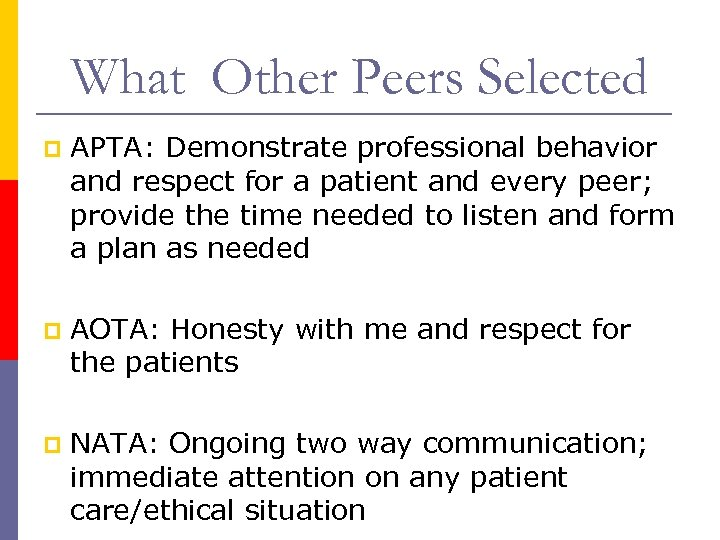 What Other Peers Selected p APTA: Demonstrate professional behavior and respect for a patient
