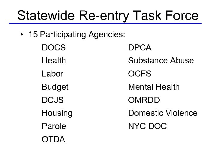 Statewide Re-entry Task Force • 15 Participating Agencies: DOCS DPCA Health Substance Abuse Labor