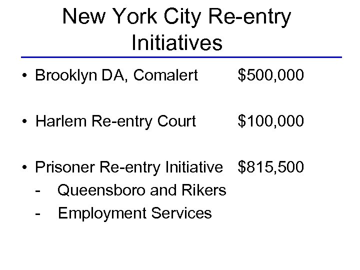 New York City Re-entry Initiatives • Brooklyn DA, Comalert $500, 000 • Harlem Re-entry