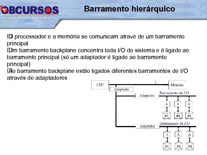 Barramento hierárquico processador e a memória se comunicam atravé de um barramento O principal