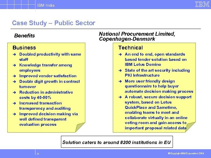IBM India Case Study – Public Sector National Procurement Limited, Copenhagen-Denmark Benefits Business Technical