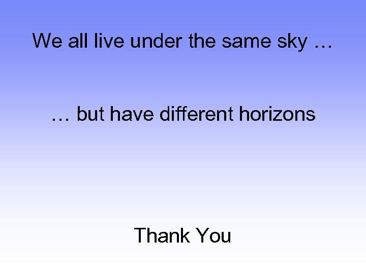 We all live under the same sky … IBM India We all live under