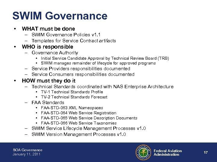SWIM Governance • WHAT must be done – SWIM Governance Policies v 1. 1
